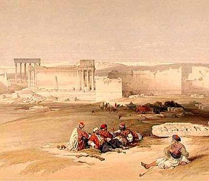 Lámina de las ruinas de Baalbek (Líbano)