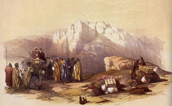 Dibujo de un campamento beduino (JORDANIA)