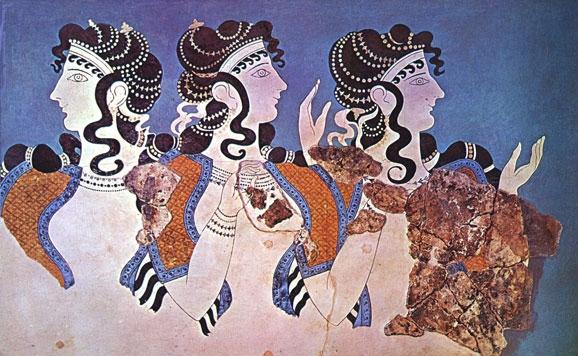 Pintura mural de mujeres minoicas en el palacio de Knossos, Creta (Grecia)