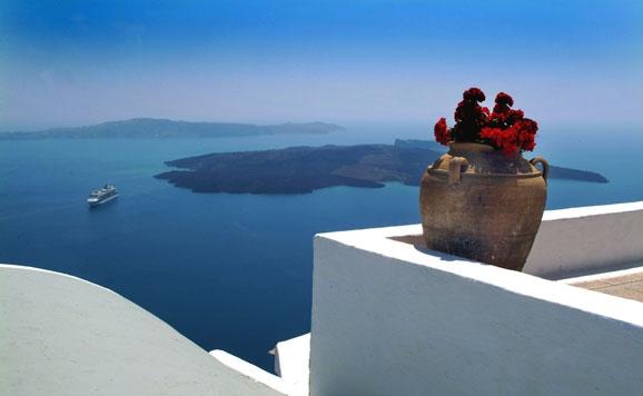 panormica de la caldera del volcn de la isla de santorini grecia