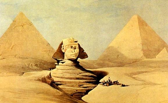 Dibujo de la Esfinge con las pirámides al fondo