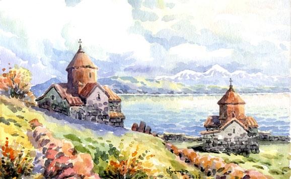 Dibujo de los monasterios del lago Sevan ·